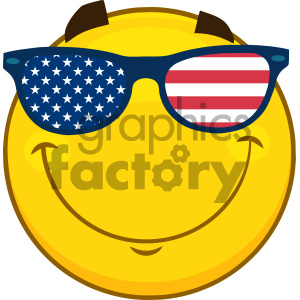 Royalty Free RF Clipart Illustration Smiling Patriotic Yellow Cartoon Emoji Face Character With USA Flag Sunglasses  Vector Illustration Isolated On White Background clipart. Royalty-free image # 404495