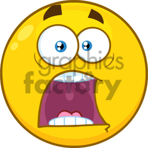 Royalty Free RF Clipart Illustration Funny Yellow Cartoon Smiley Face Character With Expressions A Panic Vector Illustration Isolated On White Background clipart. Commercial use image # 404500