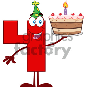 Royalty Free RF Clipart Illustration Funny Red Number Four Cartoon Mascot Character Holding Up A Birthday Cake Vector Illustration Isolated On White Background clipart. Commercial use image # 404511
