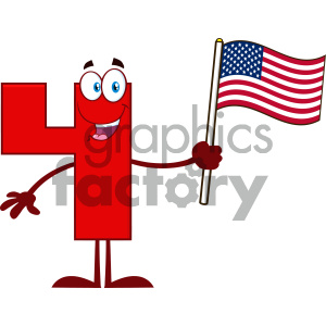 Royalty Free RF Clipart Illustration Happy Red Number Four Cartoon Mascot Character Waving An American Flag Vector Illustration Isolated On White Background clipart. Commercial use image # 404517