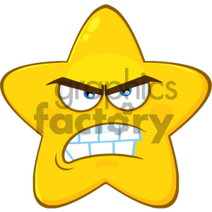 Royalty Free RF Clipart Illustration Angry Yellow Star Cartoon Emoji Face Character With Aggressive Expressions Vector Illustration Isolated On White Background clipart. Commercial use image # 404526