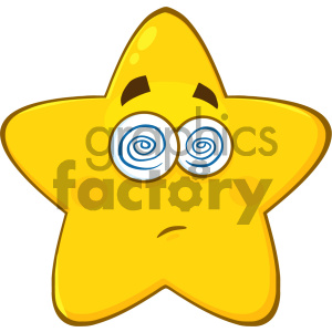 Royalty Free RF Clipart Illustration Dazed Yellow Star Cartoon Emoji Face Character With Hypnotized Expression Vector Illustration Isolated On White Background clipart. Commercial use image # 404542