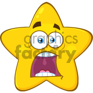 Royalty Free RF Clipart Illustration Scared Yellow Star Cartoon Emoji Face Character With Expressions A Panic Vector Illustration Isolated On White Background clipart. Commercial use image # 404559