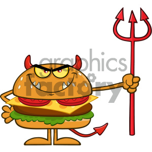 Angry Devil Burger Cartoon Character Holding A Trident Vector Illustration Isolated On White Background
