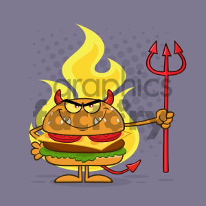 Angry Devil Burger Cartoon Character Holding A Trident Over Flames Vector Illustration With Purple Halftone Background clipart. Commercial use image # 404668