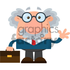 Professor Or Scientist Cartoon Character With Briefcase Waving Vector Illustration Flat Design Isolated On White Background clipart. Commercial use image # 404688