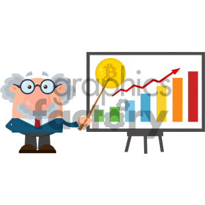 Professor Or Scientist Cartoon Character With Pointer Discussing Bitcoin Growth With A Bar Graph Vector Illustration Flat Design Isolated On White Background clipart. Commercial use image # 404690