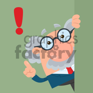 Professor Or Scientist Cartoon Character Looking Around Corner With Advice Vector Illustration Flat Design With Background clipart. Royalty-free image # 404700