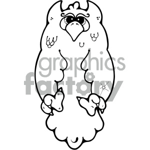 cartoon clipart black and white owl 004 bw clipart. Royalty-free image # 404772