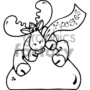 cartoon clipart moose 015 bw