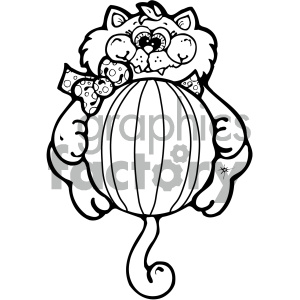 cartoon clipart cat 004 bw clipart. Royalty-free image # 404892