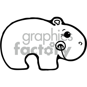 cartoon clipart Noahs animals hippo 007 bw clipart. Royalty-free image # 404898