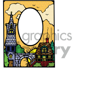 cartoon skyline frame