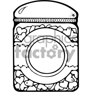 black white cartoon jar