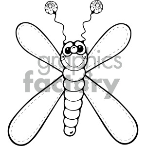 black and white dragonfly clipart. Royalty-free image # 405259