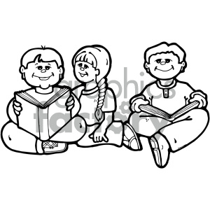black white group of kids reading clipart. Commercial use image # 405307