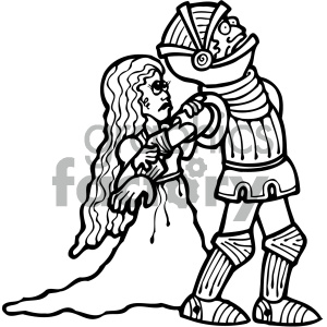 black and white knight with princess clipart. Royalty-free image # 405354