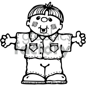 black white boy image clipart. Commercial use image # 405355