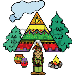 native american cartoon vector art clipart. Commercial use image # 405382