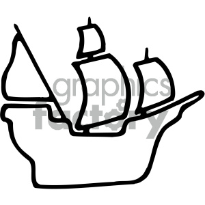 ship boat pirate sails black+white silhouette