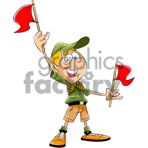 cartoon boy scout character holding red flags clipart. Commercial use image # 405561