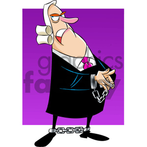 cartoon character mascot funny judge court law justice cuffed