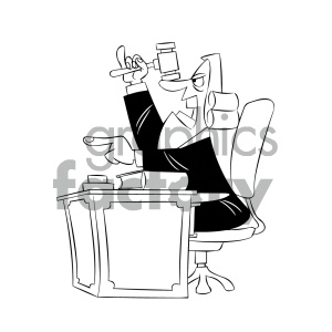 black and white cartoon supreme court justice giving a judgement clipart. Commercial use image # 405597