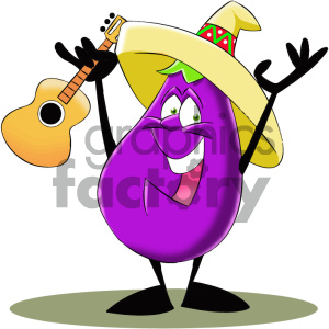 cartoon eggplant with guitar clipart. Commercial use image # 405613
