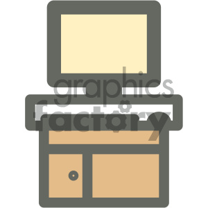 computer desk furniture icon