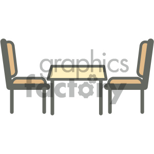 furniture icons household kitchen table chairs