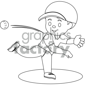 people cartoon child playing baseball throwing pitching black+white coloring+page