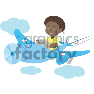 african american boy flying an airplane vector illustration clipart. Commercial use image # 405995