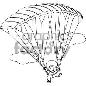 black and white coloring page boy skydiving vector illustration