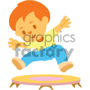 people cartoon child jumping trampoline fun