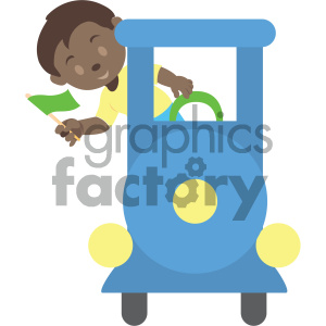 people cartoon child train african+american