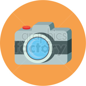 camera icon with orange circle background clipart. Royalty-free image # 406040