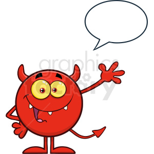 Happy Devil Cartoon Emoji Character Waving For Greeting With Speech Bubble Vector Illustration Isolated On White Background clipart. Royalty-free image # 406129