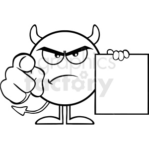 Black And White Angry Devil Cartoon Emoji Character Pointing With Finger And Holding A Blank Sing Vector Illustration Isolated On White Background clipart. Commercial use image # 406130