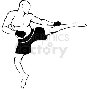 mma fighter side kick vector art clipart. Commercial use image # 406199