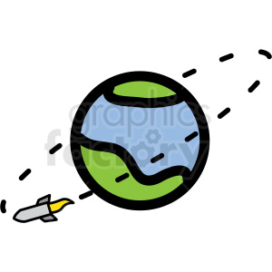 rocket orbiting earth vector icon clipart. Commercial use image # 406236