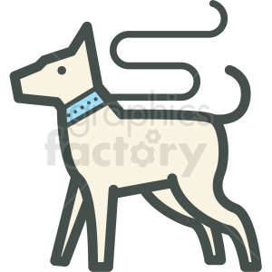 dog on leash vector icon clipart. Royalty-free image # 406398