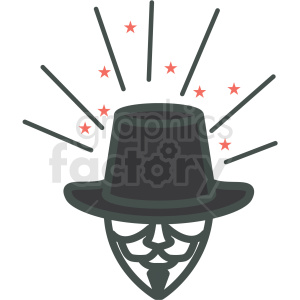 guy fawkes day mask and hat vector icon image clipart. Royalty-free image # 406495