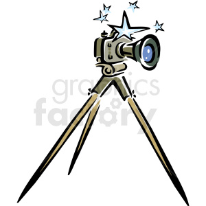 A Camera Sitting on A Tripod with Stars around the Top clipart. Royalty-free image # 156279