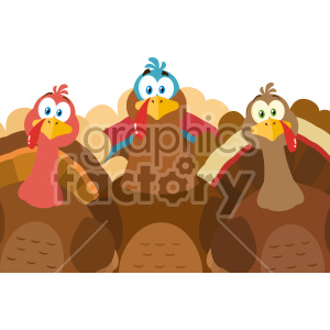 Thanksgiving Turkeys Cartoon Mascot Characters Vector Illustration Flat Design Isolated On no Background clipart. Commercial use image # 406955