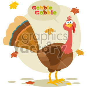 Thanksgiving Turkey Bird Cartoon Mascot Character Vector Illustration Flat Design Isolated On no Background With Autumn Leaves And Speech Bubble Text clipart. Royalty-free image # 406963
