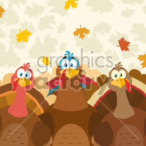 Thanksgiving Turkeys Cartoon Mascot Characters Vector Illustration Flat Design Over Background With Autumn Leaves clipart. Commercial use image # 406965