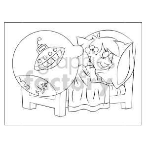 cartoon child kid boy sleeping dreaming dream sleep ufo black+white coloring+page