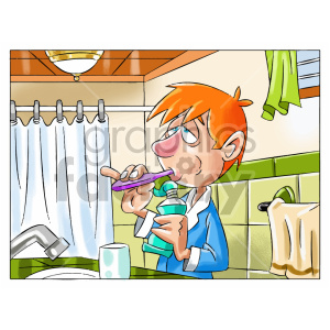 cartoon child kid boy brushing+teeth dental goodnight morning