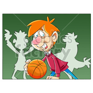 cartoon child kid boy playing basketball sports
