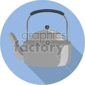 tea pot on blue circle background flat icons clipart. Royalty-free image # 407165